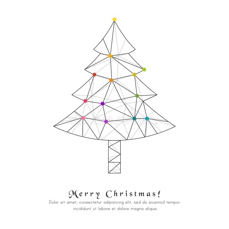 vector card with abstract christmas tree made from lines and dots stock vector