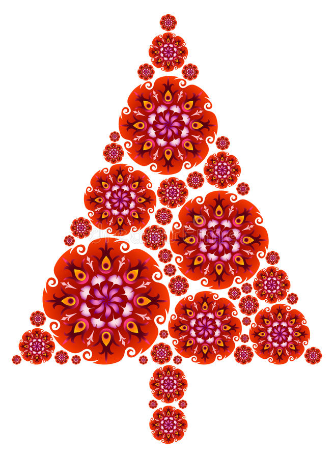 Download Christmas Tree Made Of Mandalas In Red Stock Vector - Image: 16777797