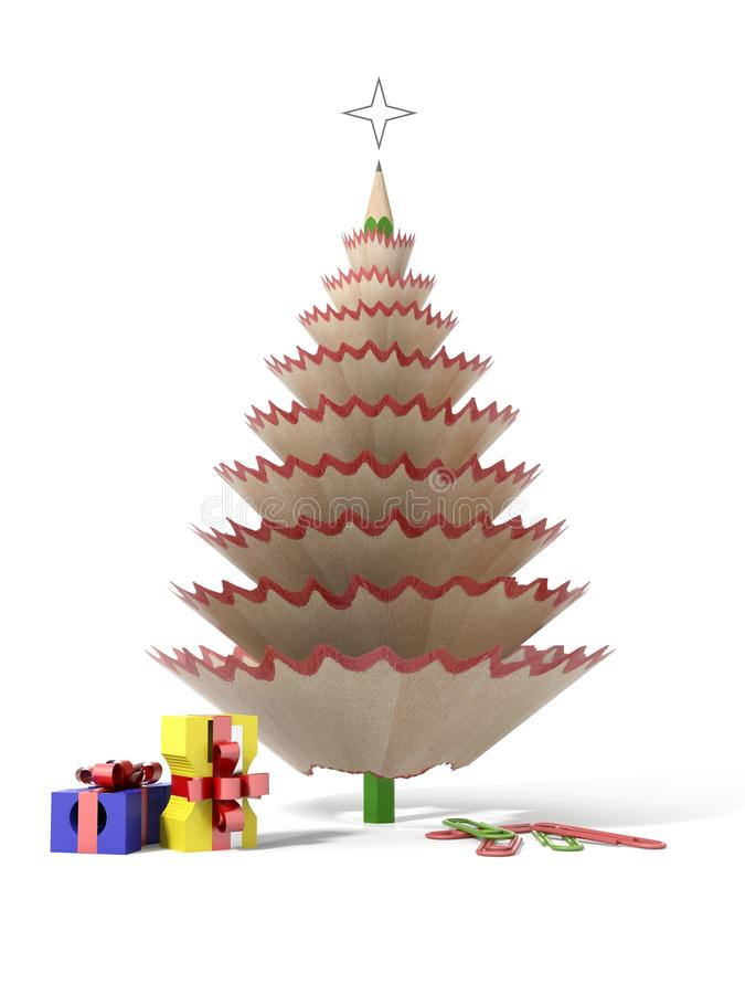 Christmas tree made with a pencil royalty free illustration