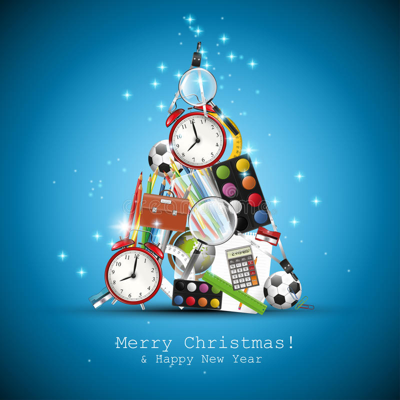 Christmas tree made from school supplies royalty free illustration