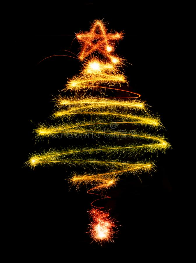 Christmas tree made by sparkler on a black vector illustration