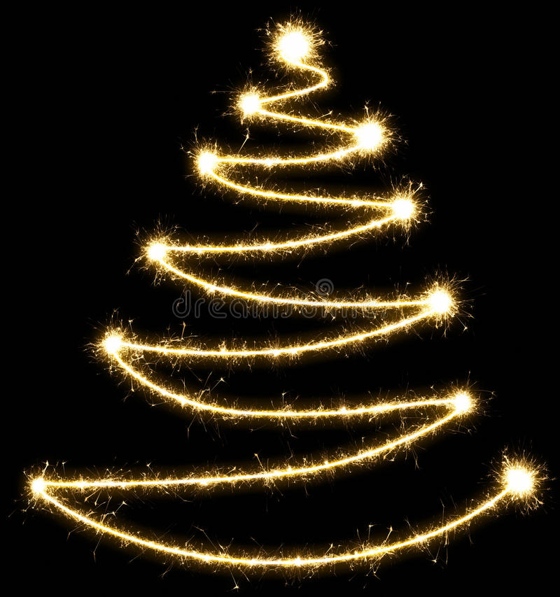 Christmas tree made by sparkler on a black background royalty free illustration