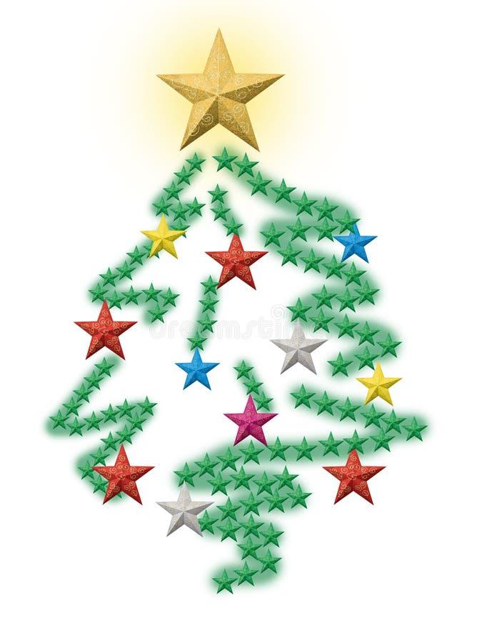 Christmas tree made from stars stock photo