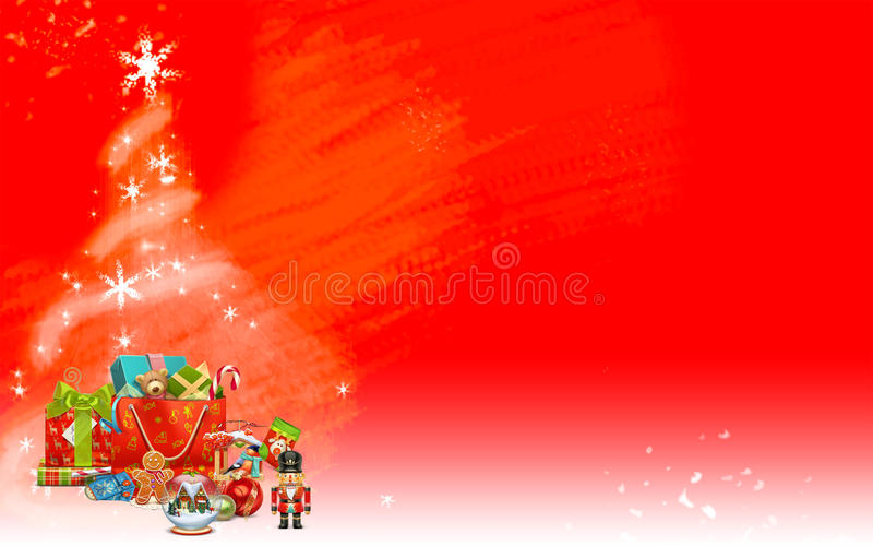 Red Christmas Background With Xmas Tree And Gifts: Christmas Tree Made From Stars And Colored Gifts (red