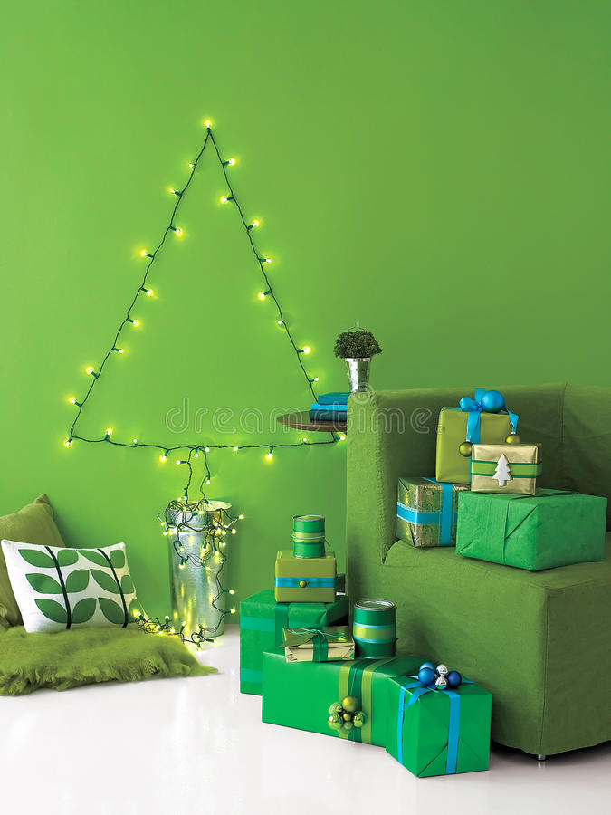 Download Christmas Tree Made Of String Lights And Presents Stock Photo - Image: 11749030