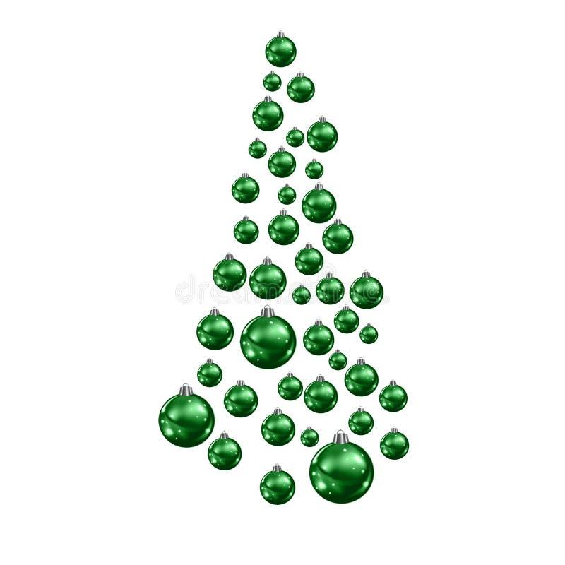 Christmas tree made of suspended green Christmas balls. Raster illustration vector illustration