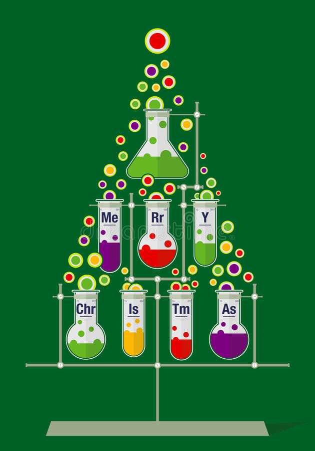 Christmas tree made of test tubes and bubbles on dark green background stock illustration