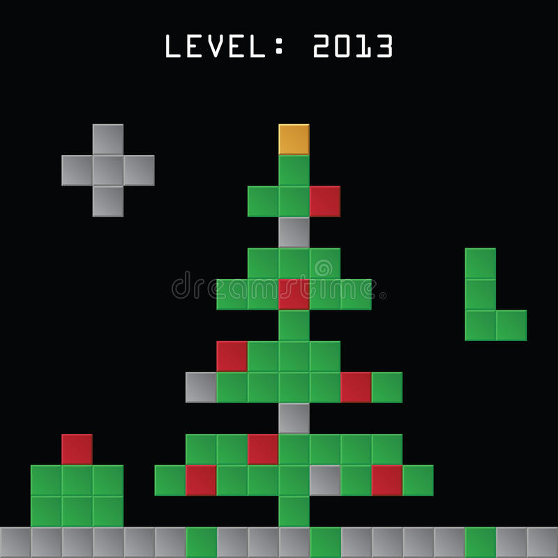 Christmas tree made from tetris game blocks royalty free illustration