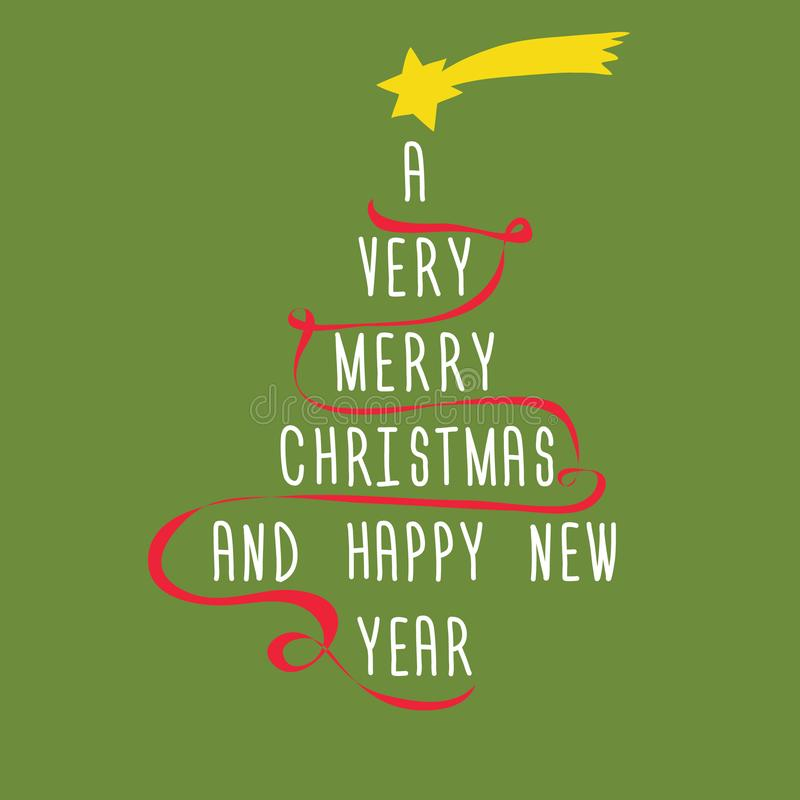 Christmas tree made from text with red ribbon and yellow star above. Vector illustration on light green background. A Very Merry C royalty free illustration
