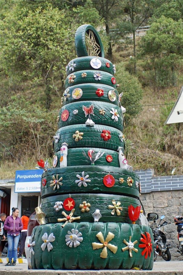 Tire Christmas tree royalty free stock photos