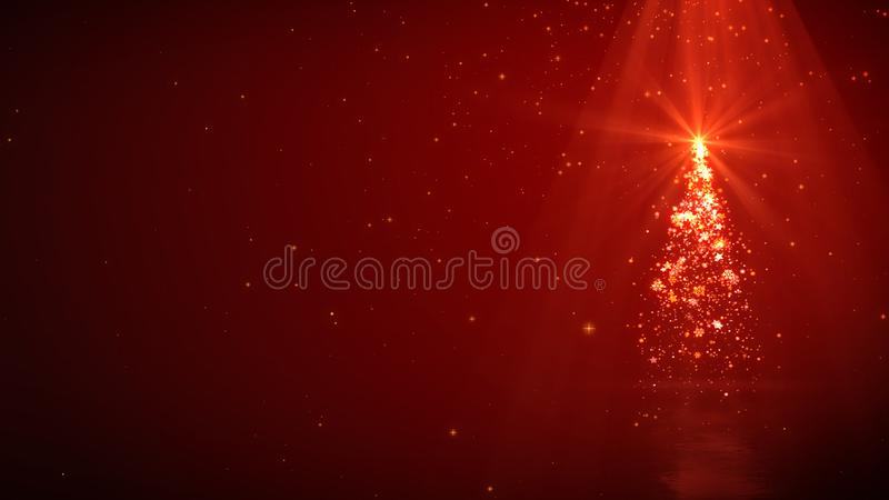 Christmas tree magic lights and shine on red background with copyspace.  vector illustration