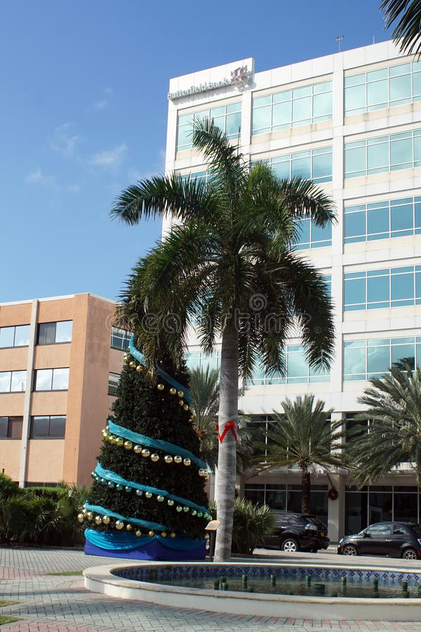 Christmas tree in the main square on Grand Cayman royalty free stock image