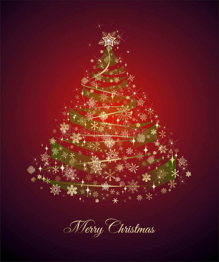 Christmas tree and Marry Christmas wishes. Christmas card with Golden Christmas tree and Marry Christmas wishes, also available as a Vector, Eps file. The vector vector illustration