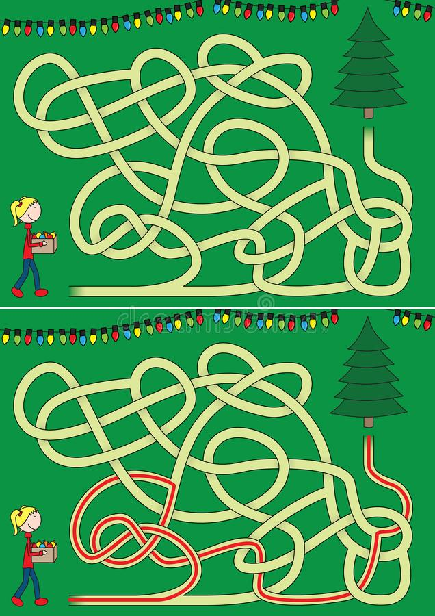 Christmas tree maze stock illustration