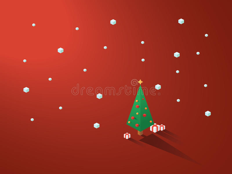 Christmas tree in modern minimalistic isometric polygonal geometric style. White background with snowing. royalty free illustration