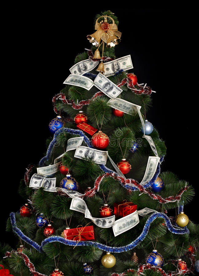 Download Christmas Tree With Money Dollar Garland. Stock Photo - Image: 11731476