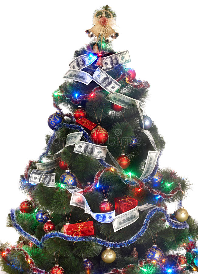 Download Christmas Tree With Money Dollar Garland. Stock Image - Image: 11731539