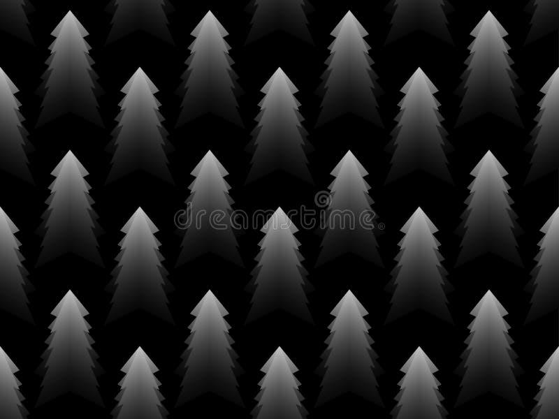 Christmas tree monochrome seamless pattern. Black and white gradient. Vector stock illustration