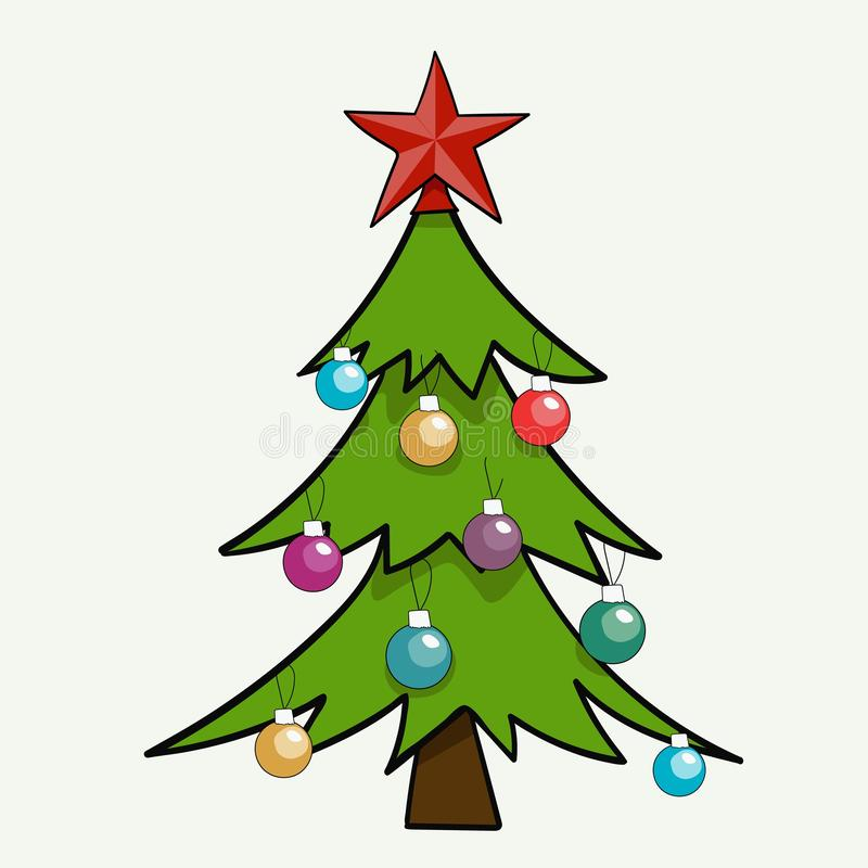 Christmas tree with multicolored balls isolated on white background vector illustration