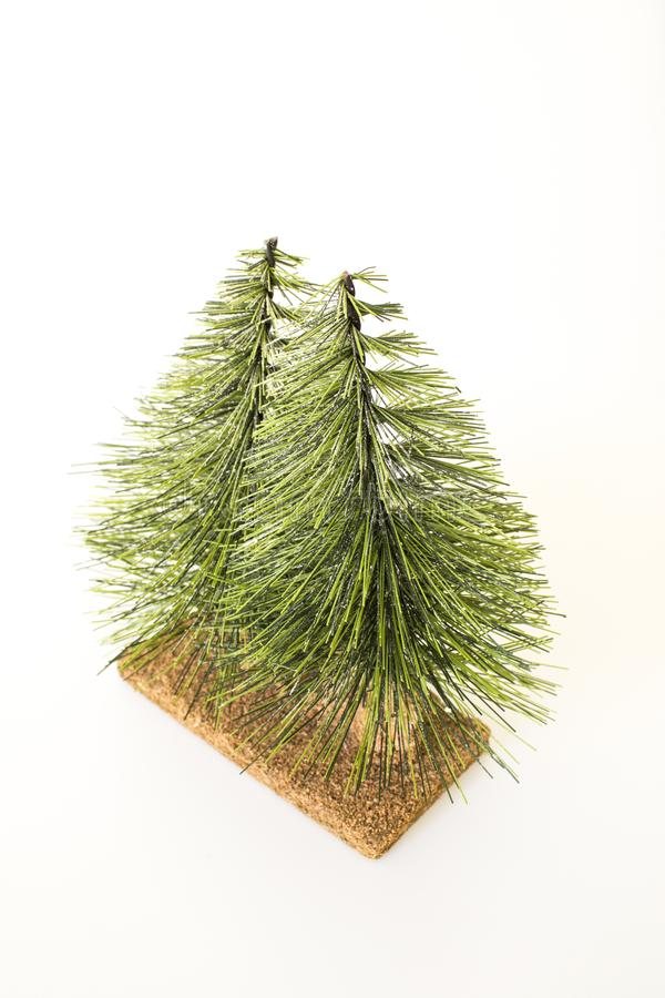 Christmas tree for nativity diorama isolated in a white background royalty free stock photos