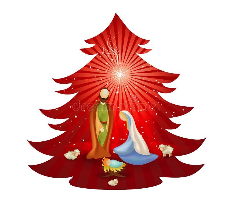 Christmas tree nativity scene with holy family on red background. Bethlehem vector illustration