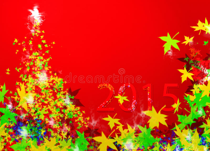 Christmas tree & New Year 2015 (New Year) royalty free stock images
