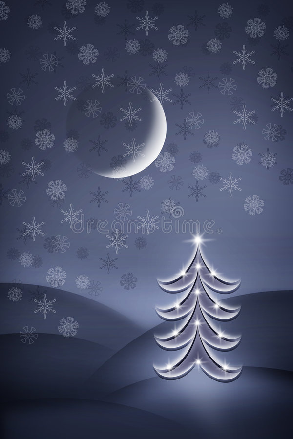 Christmas tree at night royalty free illustration