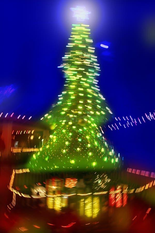Christmas Tree Night Blurred Lighting Royalty Free Stock Images