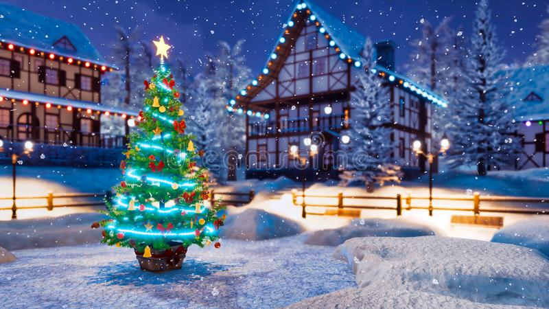 Christmas tree on night rural landscape background stock illustration