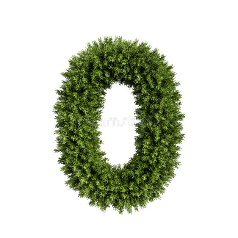 Christmas tree number 0. Christmas alphabet ABC digit number 0 zero null font. Christmas tree branches digits decoration type. Highly realistic 3d rendering stock illustration
