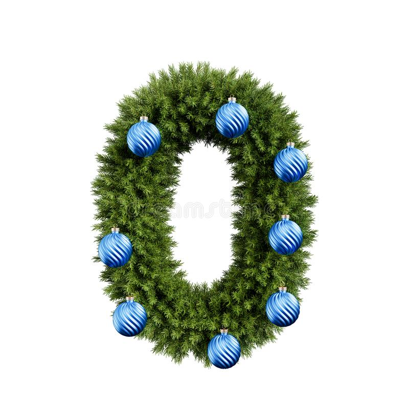 Christmas tree number 0. Christmas alphabet ABC digit number 0 zero null font with Christmas ball. Christmas tree branches digits decoration type with Christmas vector illustration
