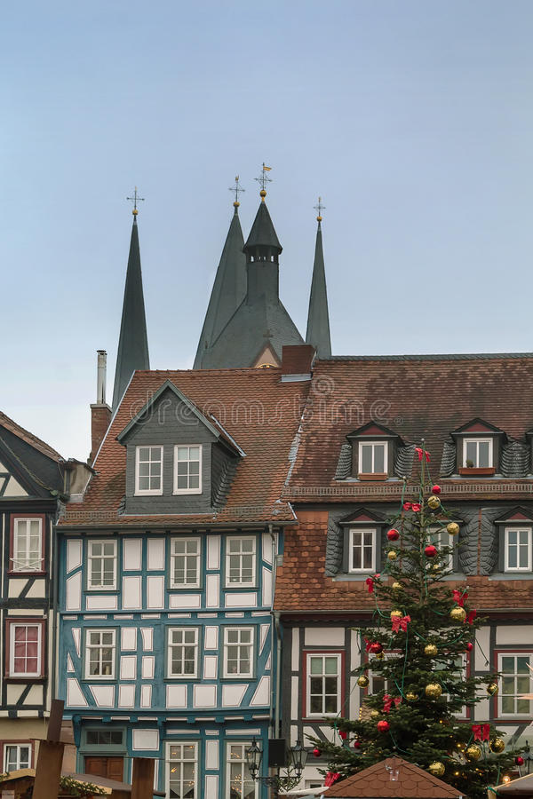 Christmas tree on Obermarkt, Gelhhausen. Christmas tree on Obermarkt - is main square on Gelhhausen, Germany stock photo