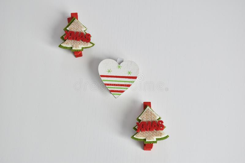 Christmas tree objects and heart for Christmas decorations. Background white royalty free stock photography