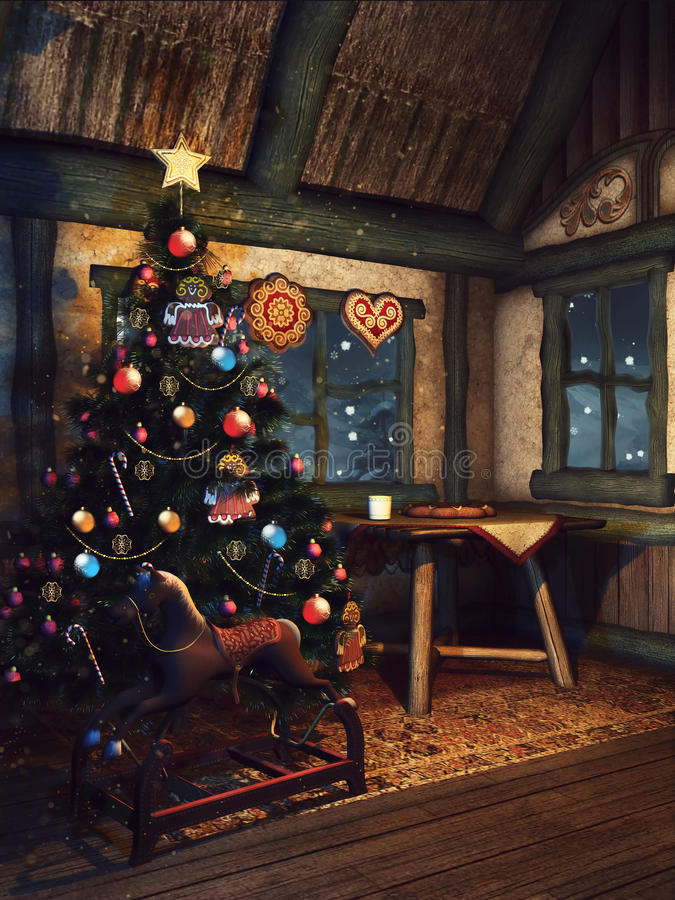 Christmas tree in an old cottage. Christmas tree and a wooden rocking horse in a fairytale cottage stock illustration