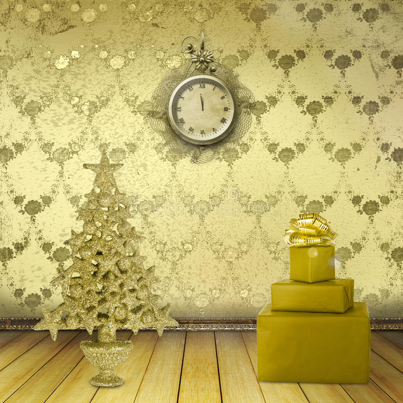 Christmas tree in the old room vector illustration
