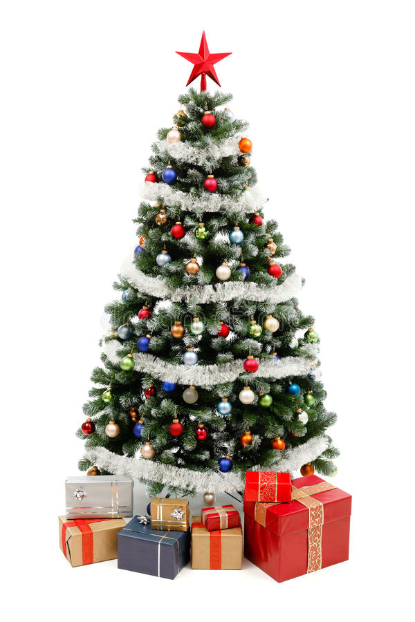 Free Christmas Tree On White With Presents Royalty Free Stock Photography - 17280547