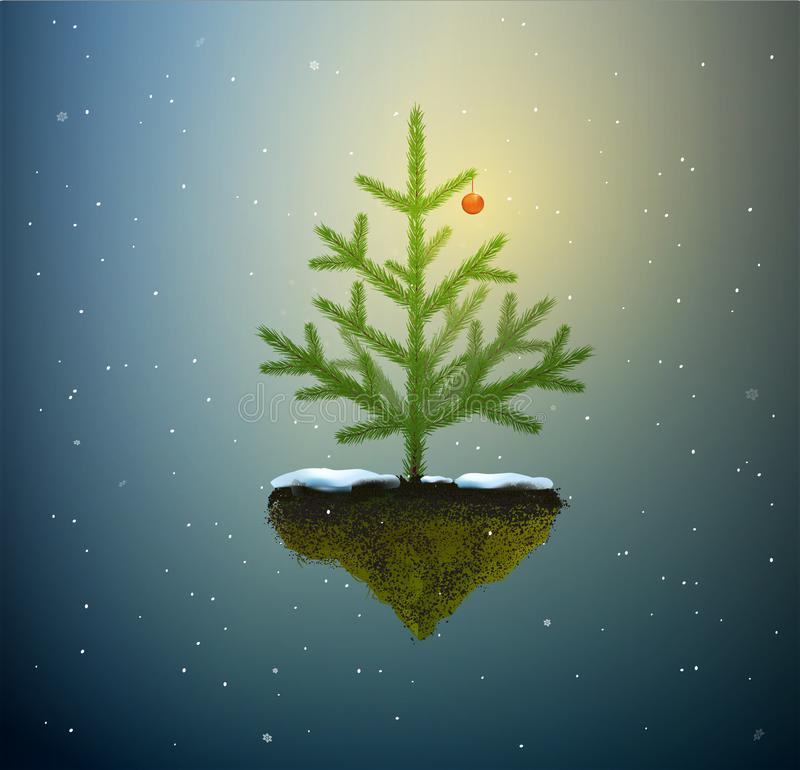 Christmas tree with one red buble growing on the flying rock in dreamland sky, Christmas fairy, vector illustration