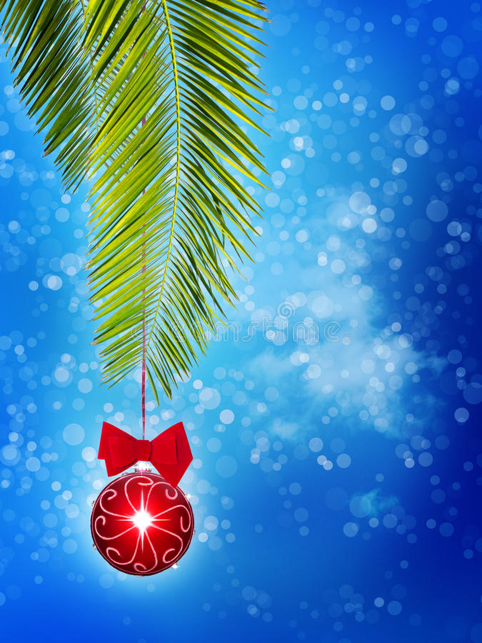 Christmas tree ornament. A red christmas tree ornament with a red bow hangs from a palm frond. Concept for a tropical christmas holiday