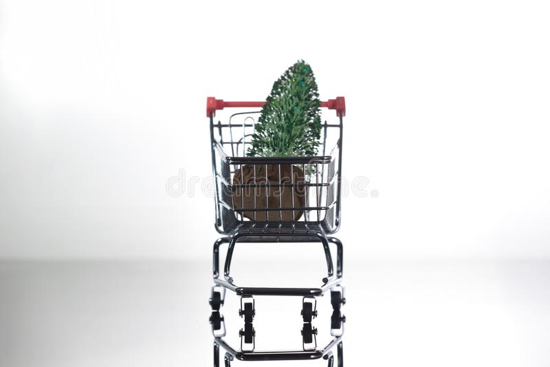 Ornament Christmas Decoration On A Mini Shopping Cart ...