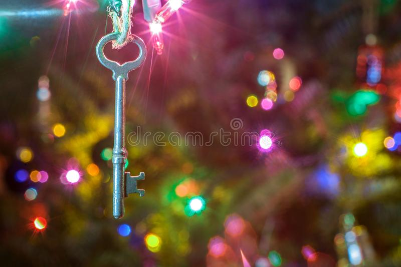Christmas Tree Ornament Key royalty free stock images