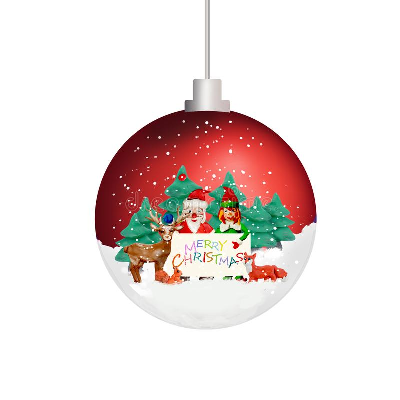 Christmas tree ornament pattern 3D sphere ball toy isolated on white royalty free illustration