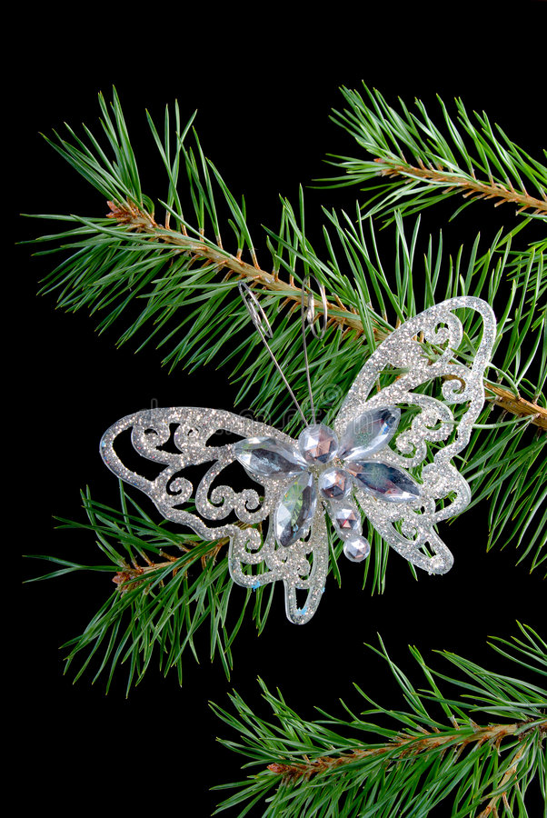 Download Christmas Tree Ornaments .butterfly Stock Photo - Image: 6634974