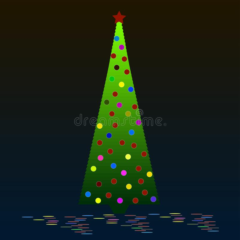 Christmas tree with ornaments royalty free illustration