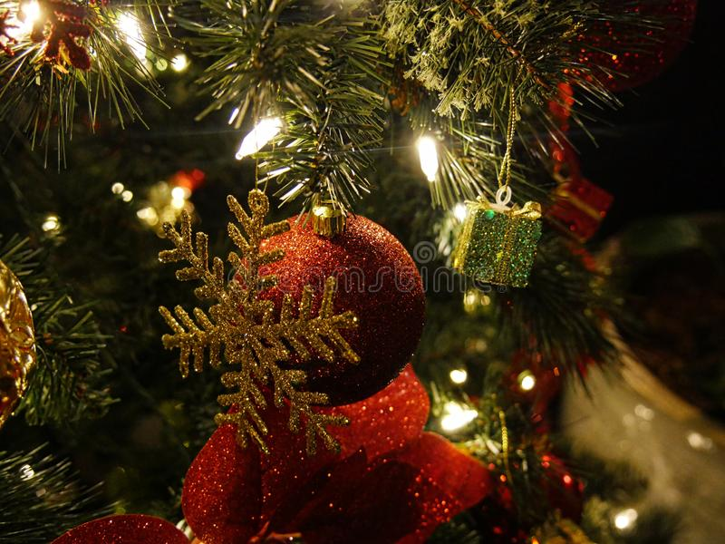 Lighted Christmas tree ornaments, close up. Christmas tree ornaments, close up stock photography