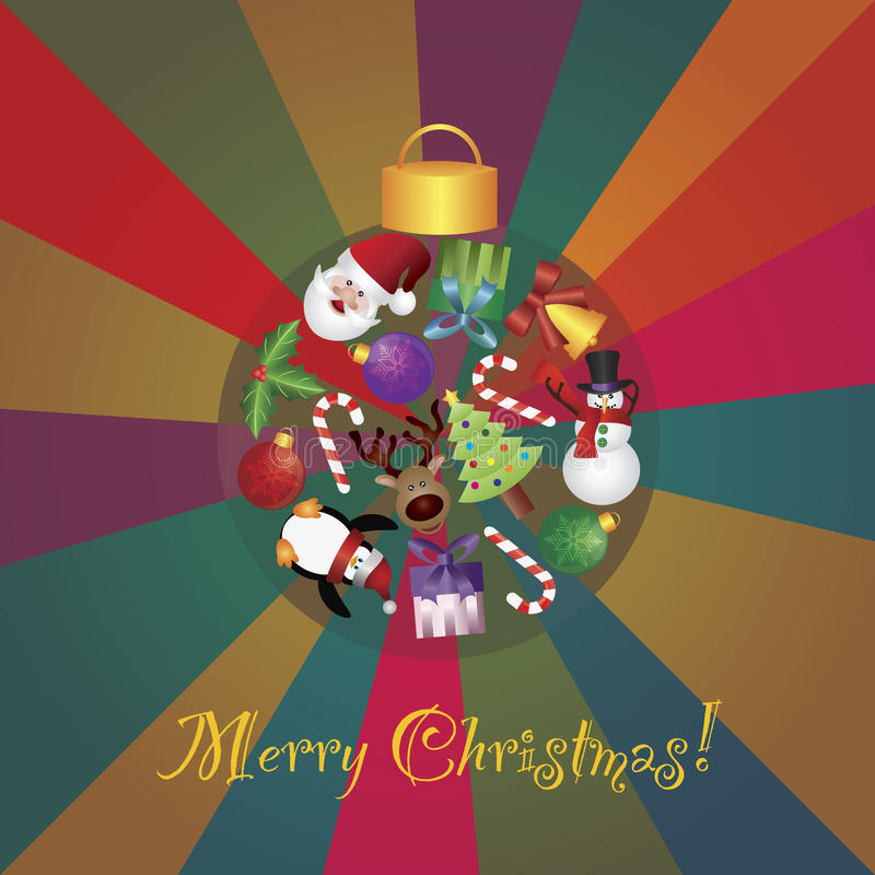Christmas Tree Ornaments Collage Illustratio royalty free illustration