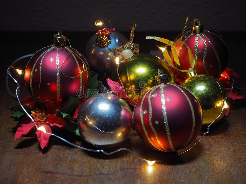 Christmas composition,tree balls and fairy lights stock photos