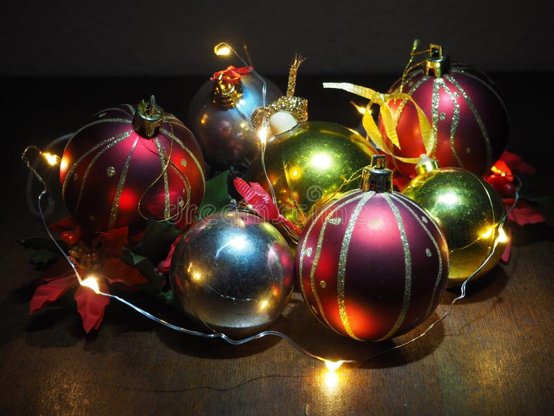 Christmas composition,tree balls and fairy lights royalty free stock photography