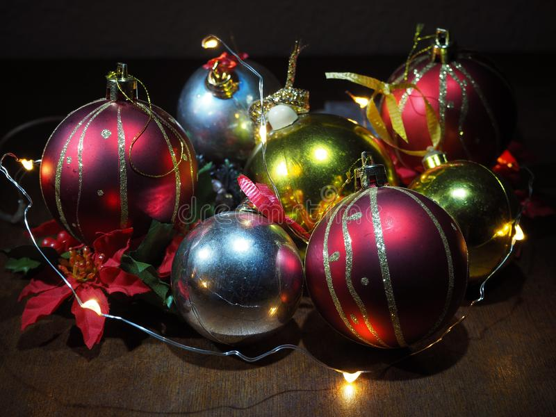 Christmas composition,tree balls and fairy lights stock images
