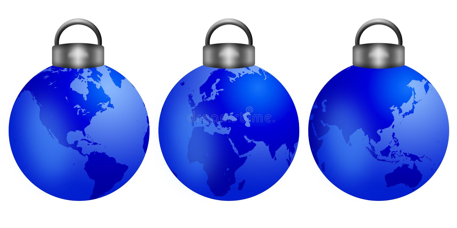 Download Christmas Tree Ornaments With World Map Stock Illustration - Image: 22080218