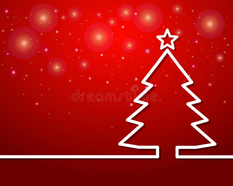 Christmas tree outline with star on red background royalty free illustration